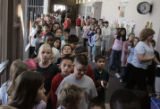Students at Second Creek Elementary School are almost in grid-lock as they make their way to the...