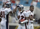 Denver Broncos' offensive players Charlie Adams (#81, WR) and Rod Smith (#80, WR) celebrate with...
