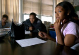 04/30/2004 Denver-Manual High School students, including Sherina Hardin, right, studied the impact...