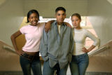04/30/2004 Denver-Manual High School students Sherina Hardin, from left, Michael Segura and...