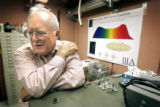 John L. Hall (cq), co-winner of the 2005 Nobel Prize in physics, talks in his former laboratory on...
