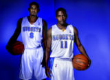 First year Denver Nuggets guard, Earl Watson, left, and veteran Nuggets guard, Earl Boykins,...