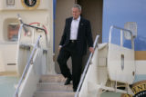 U.S. President  George W. Bush, steps off of Air Force One as he arrives at Peterson Air force...