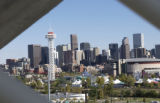 The Denver skyline as seen from the Riverside Baptist Church in Denver Wednesday October 5, 2004....