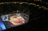 Images from the high points of ten years of Colorado Avalanche history were projected onto the ice...