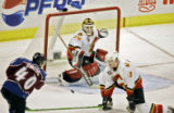 The Colorado Avalanche's Marek Svatos (#40) unleashes a shot that results in his third goal of the...