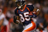 Denver Broncos wide receiver Ashley Lelie runs a reverse for the Broncos first play from scrimmage...