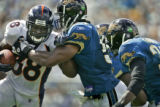 The Denver Broncos' Mike Anderson (#38, RB) tries to turn the corner on the Jacksonville Jaguars'...