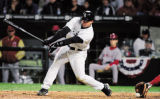 CAANR101 - Chicago White Sox's A.J. Pierzynski strikes out in the ninth inning against the Los...