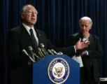 Washington Jan. 26, 2005 - Sen. Ken Salazar (D-Colo.) speaks during a press conference with other...