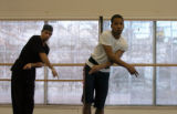 [DENVER, CO - Shot on: 1/21/05]  Miguel Castro, left, and Richard Glover rehearse at the Colorado...