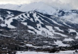 (Snowmass Village, CO., January 27, 2005)  Snowmass Village beneath the mountains on Thursday, ...