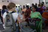 (1/22/05, Pondicherry, India)  Kaylin Shaw, 18, from Parker, came on the India trip with Helen...