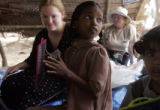 (1/22/05, Pudukkuppam, India)  Kaylin Shaw, 18, communicates with orphans who lost their parents...