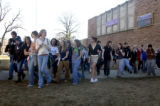 (Boulder, COLO. JANUARY 20, 2005)   Boulder high school students walk out of class on Thursday...