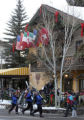 [VAIL, CO - Shot on: 1/19/05]  Skiers walk past the outdoor seating area of Pepi's Restaurant at...