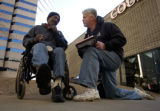 (DENVER, Colo., January 25, 2005)Roy Johnson, a Denver homeless man, gives Point-in-Time...
