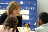 (DENVER Colo., January  27, 2005)  Kindergarten teacher Jenny Matthews  during reading time with...