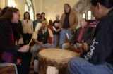(Denver, Colo., 1/25/05) -Members of the Transform Columbus Day Alliance at a press conference at...