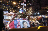 [(Boston, MA,Shot on: 7/27/04)] A delegate  shows her colors during the first night of the 2004...