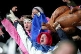 (Aspen , Colo., January29, 2005) Shaun White raises his arms in disbelief  after winning the gold...