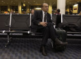 (San Diego, Calif.,Jan. 28,2005) Ahmad Dizayee  of Lakewood Colorado waits for a plane change...