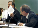 (DENVER Colo., January  28, 2005)   Randy Brown, left, father of former Columbine student Brooks...