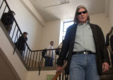 (Boulder, Colo., February 1, 2005) CU Professor Ward Churchill walks down the stairs after...