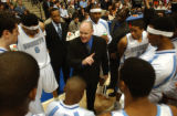 Denver, Colo., photo taken Feb. 1, 2005- New head coach, George Karl, talks to his team in a...