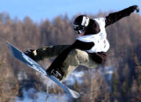 BRD103 - Finland's Antti Autti  jumps in the halfpipe discipline during the Snowboard World Cup...