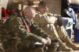 FORT CARSON, COLO.-February 2,2005- L to R: PFC Eric Gardner and PFC Brad Frost take a break as...