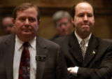 (DENVER,  COLO., -February 2, 2005)  L-R  Michael May R-HD44 and Ted Harvey R-HD43, who introduced...