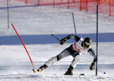 (BORMIO, Italy - Shot 2/3/2005) With Bode Miller out the sole American skiier left in the race,...