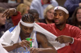 Denver, Colo., photo taken February 18, 2005- Denver Nugget second year forward, Carmelo Anthony...
