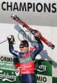(BORMIO, Italy - Shot 2/5/2005) U.S. skiier Bode Miller raises his arms in victory as he is...