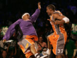 Denver 02/19/2005 ---- Phoenix Suns Quentin Richardson, left, and Amare Stoudemire celebrate on of...