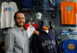 (DENVER CO. JULY 21, 2004)  Tripp Wall Managing Member of XP Apparel, stood next to his company's...