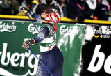 (SANTA CATERINA, Italy - Shot 2/8/2005) U.S. skiier Kristina Koznick (#18) reacts to a...