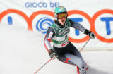 (SANTA CATERINA, Italy - Shot 2/8/2005) Austrian skiier Elisabeth Goergl (#8) reacts after...