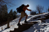 (BOULDER Colo., February 9, 2005)  Sean Swarmer heads out for a training hike in Red Rocks, City...