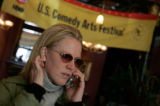 Head of talent for Comedy Central, Elizabeth Porter leaves the Hotel Jerome Wednesday in Aspen for...