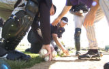 [(Tucson, AZ, Shot on: 2/23/05)] Colorado Rockies cathers Todd Greene (left) and J.D. Closser...