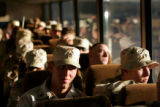 02/28/2005 Colorado Springs, Colorado- Members of the 3rd Armored Cavalry Regiment wait on the bus...