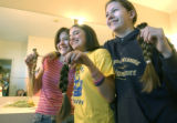 (DENVER, Colo., February 13, 2005) L_R - Ariella Epel, 16, Samantha Ginsburg,16, and Audra...