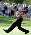 OHMD116 - Tiger Woods reacts after missing a birdie on the 17th green at Firestone Country Club in...