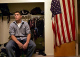 Kade Koenig,21, of Aurora, Colo., a third year sophomore majoring in speach communication, sits in...