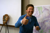Hillel Ben-Avi, who survived three days lost in Rocky Mountain National Park, gives a thumbs up...