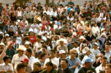 (DENVER COLORADO - May 2, 2004 ) Hundreds fill the amphitheater at Denver's Civic Center Park to...