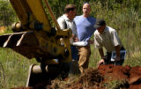 (HGTV dream house project.   Vince Kasperbauer (cq) left, superintendant of Dunrite Excavation,...
