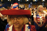 07/28/2004 Boston-Linda Gunter, a delegate from North Carolina, closes her eyes during the...